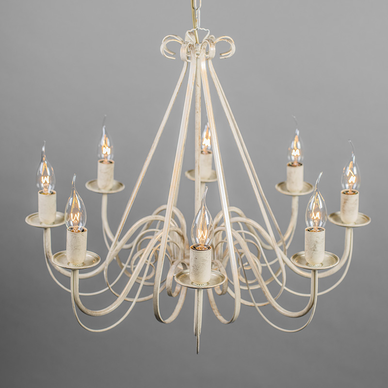 Chandelier Aged White with Black Linen Clamp Shades - Giuseppe 8