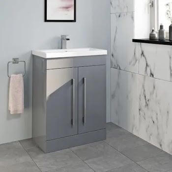 White gloss fully assembled floorstanding basin unit with doors