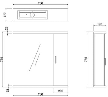 Essence White Gloss Mirror with Light - 850mm