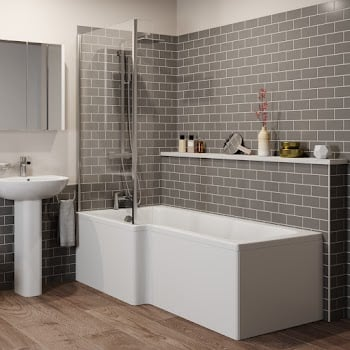 L Shaped Bath Supplied With A Panel