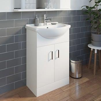 Essence White Gloss Bathroom Sink Cabinet - 550mm Width
