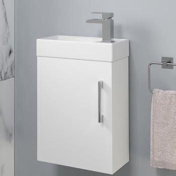 White gloss wall hung fully assembled basin unit