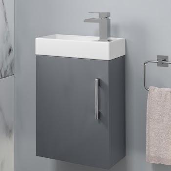 Grey gloss wall hung fully assembled basin unit