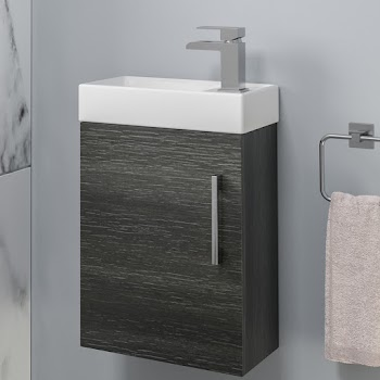 Charcoal grey wall hung fully assembled basin unit