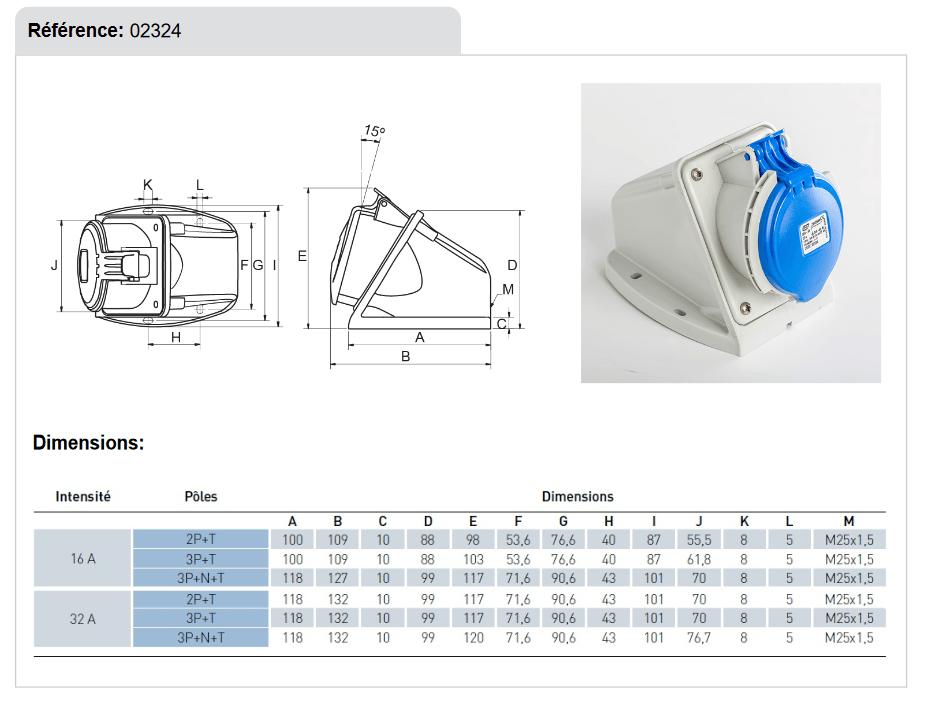 dimensions Socle de prise 32A 2P+T en saillie etanche IP44