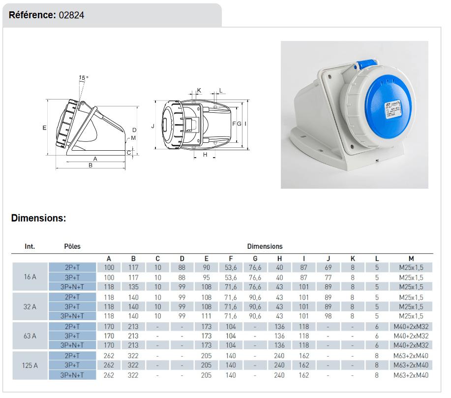 dimensions Socle de prise 32A 2P+T en saillie etanche IP67