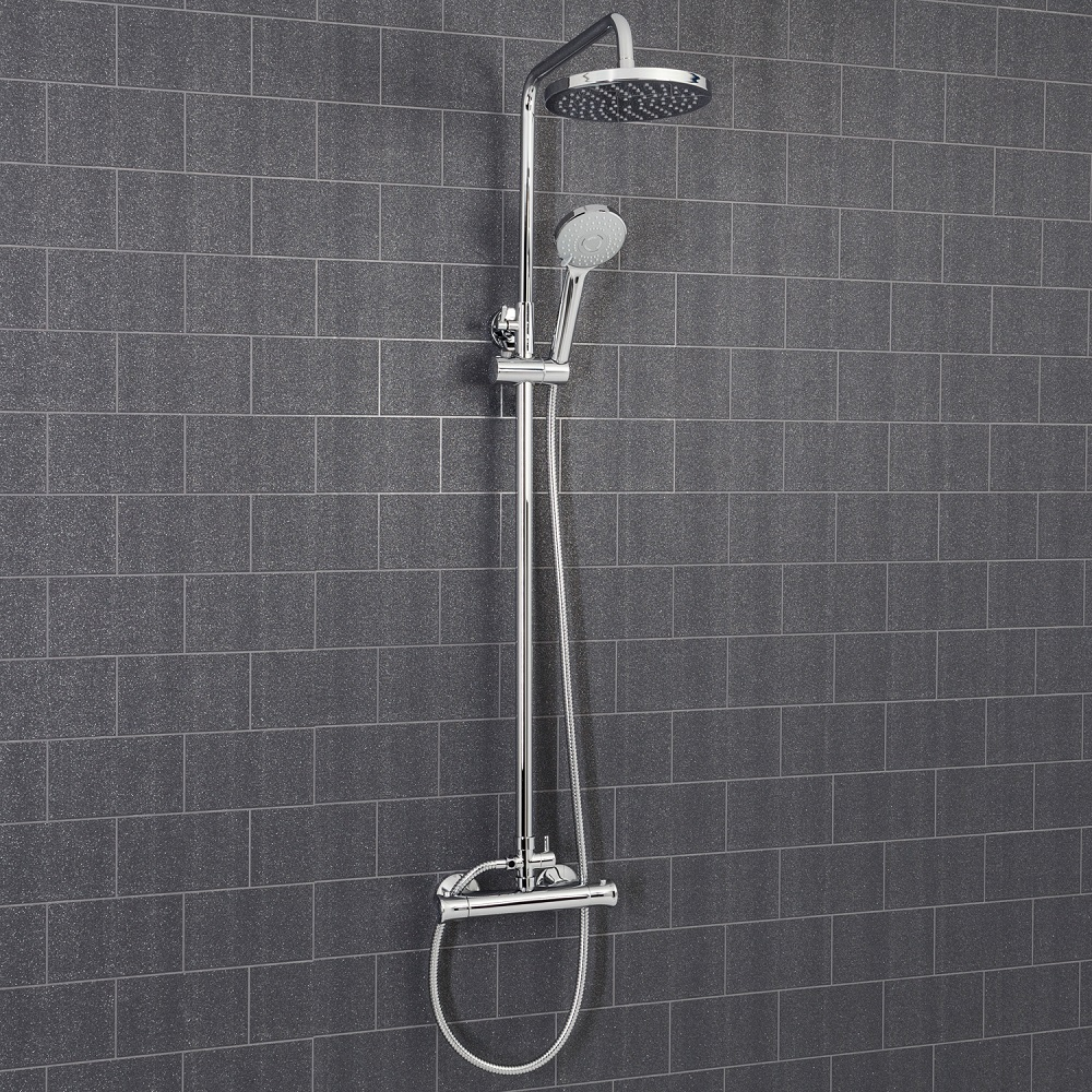 Architeckt Round Thermostatic Mixer Shower Valve & Riser System - Square Drench Head