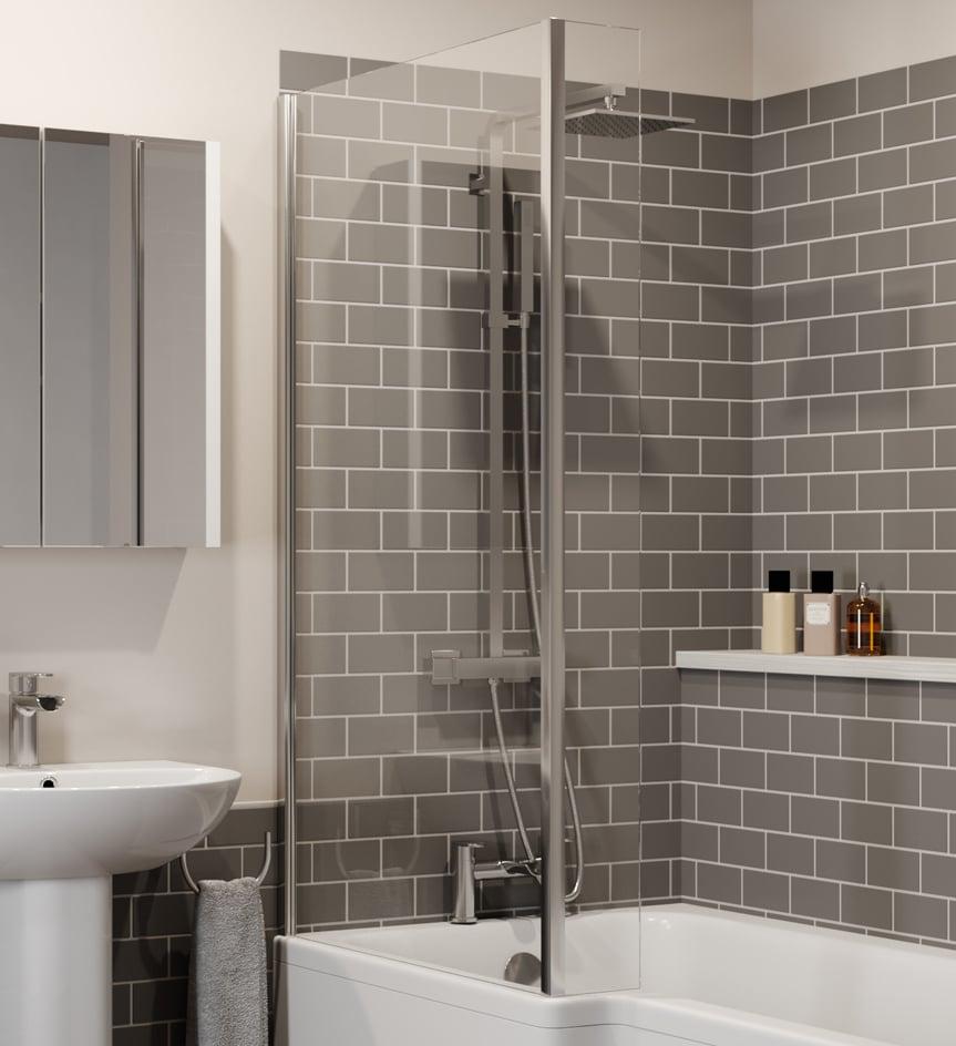 L Shaped Bath Fixed Shower Screen