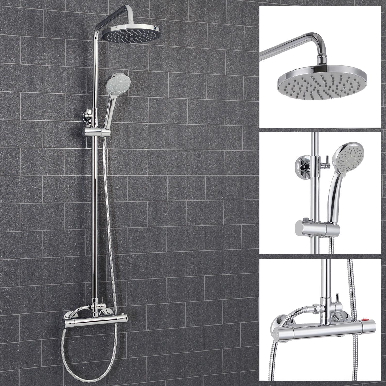 Architeckt Round Thermostatic Mixer Shower Valve & Riser System - Round Drench Head