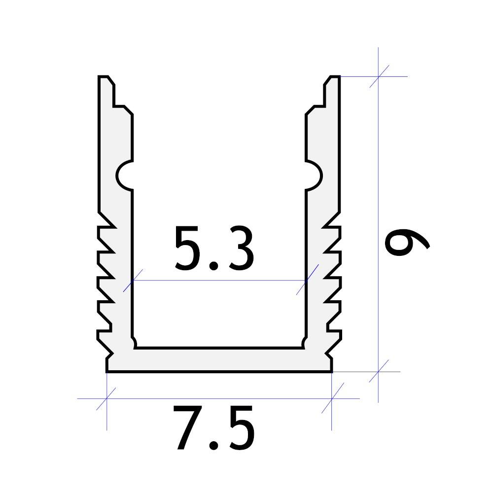 perfil aluminio superficie tira led 7.5x9