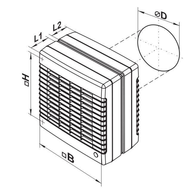Dimensions ventilateur de fenêtre Vents 150 MAO1 Reverse