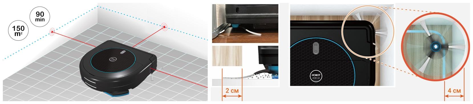 Laser + nettoyage avec brosse latérale LEGEE 669 robot laveur et aspirateur HOBOT