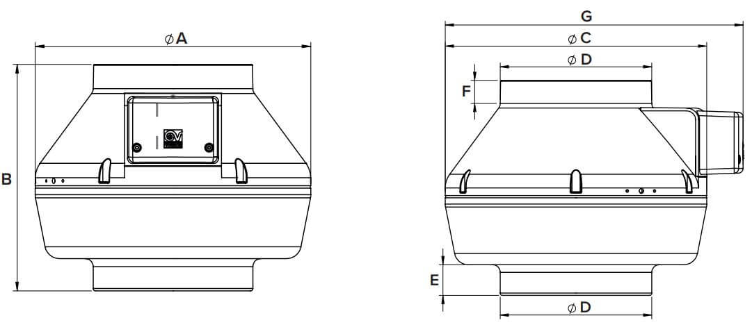 Dimensions ventilateur centrifuge Vortice CA 250 V0 E