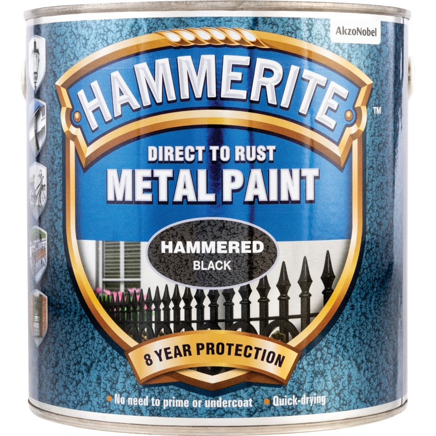 Hammerite Direct to Rust Hammered Black Metal Paint - 2.5LTR