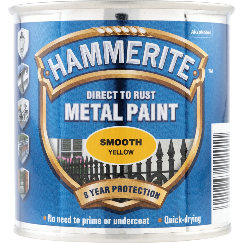 Hammerite Direct to Rust Smooth Yellow Metal Paint - 250ML