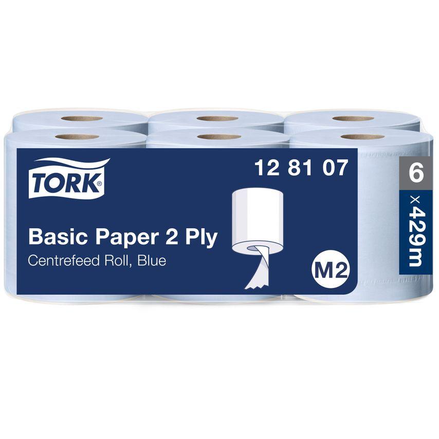 Tork 128107 Basic Paper 320 Centrefeed Roll 2PLY Blue (PK6)
