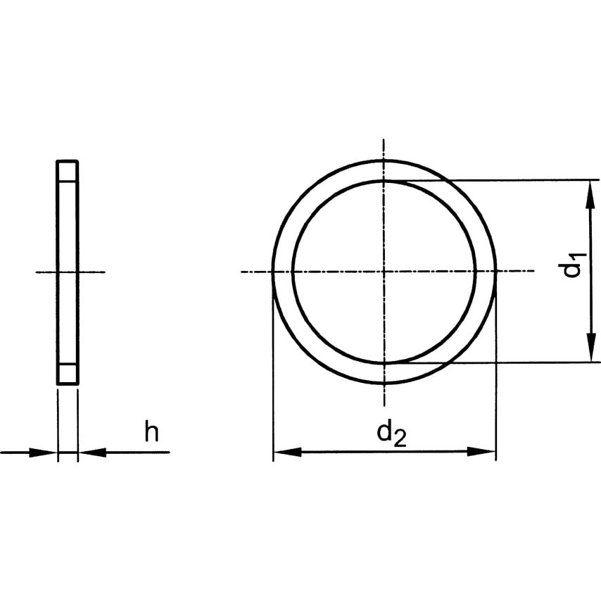 Qualfast 8X12X1.0MM Copper Sealing Ring Annealed DIN 7603A
