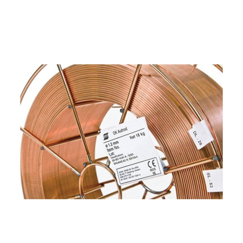 Esab 0.8MM OK Autrod 12.51 Premium Copper Coated Solid MIG Wire 5KG Reel - 1251084600