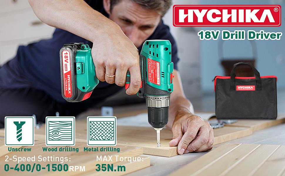 HYCHIKA 18V Drill Driver Cordless