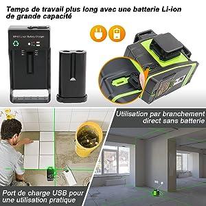 Technologie Dual Power: ¡ñCe niveau laser adopte une batterie Li-ion rechargeable de grande capacité. ¡ñL'outil de niveau peut être utilisé sur le chantier en étant branché directement lors du retrait de la batterie. ¡ñLes utilisateurs peuvent charger la batterie indépendamment avec le chargeur de batterie équipé. ¡ñAvec le port de chargement USB, le niveau laser peut également être chargé par téléphone, ordinateur portable, banque d'alimentation, chargeur de voiture, etc. ¡ñLa batterie de secours est GF-LB01 (ASIN: B07NPCYHP6)