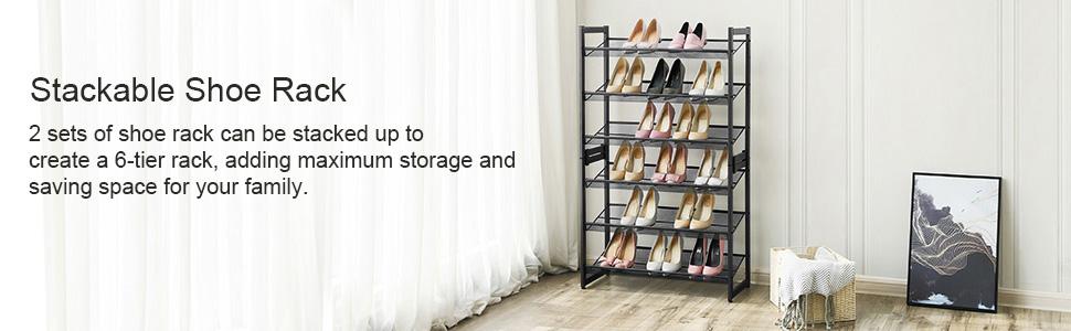 Stackble shoe rack