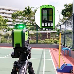 Mode impulsion à l'extérieur: ¡ñPortée de travail de 50-60m à l'aide du Détecteur Laser LR-6RG ou LR5RG (S'il vous plaît acheter séparément). ¡ñLe récepteur haute performance enregistre vos lectures dans une plage allant de 50 à 60 m et émet un accusé de réception non seulement visuellement, mais aussi acoustique. ¡ñRappel de voyant lumineux en mode impulsion.