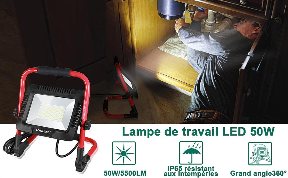 Projecteur de Chantier LED 50W, Projecteur LED, Lampe de Travail, projecteur led exterieur