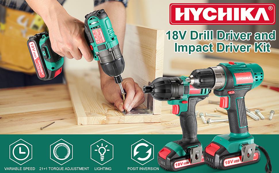 18V drill driver and impact driver kit