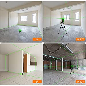 Disposition complète avec 3 plans laser à 360°: ¡ñCe niveau laser projette trois lignes laser à faisceau vert dans des plans laser à 360° - un plan horizontal à 360° et deux plans verticaux à 360°, permettant de couvrir le sol, le mur, le plafond tout autour de la pièce. ¡ñ3 lignes laser à 360° se croisent à 90° au plafond, au sol et sur les murs. Vous pouvez utiliser l'intersection des lignes laser pour projeter des points de référence et diviser les surfaces à angle droit. ¡ñCliquez sur le bouton de fonctionnement pour changer de combinaison de lignes laser, créez 3 lignes laser projetées en même temps ou projetées séparément pour répondre à vos besoins au travail.