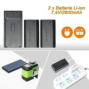 Technologie à Double Alimentation: ¡ñL'outil de niveau peut être utilisé sur le chantier en étant branché directement lors du retrait de la batterie. ¡ñUtilise la batterie li-ion de grande capacité compatible avec la batterie Samsung SB-L110 (ASIN: B07QMVB4L5). ¡ñUne batterie supplémentaire est incluse dans le package pour la sauvegarde. ¡ñLes utilisateurs peuvent charger la batterie indépendamment avec le chargeur de batterie. La batterie n'est pas chargée dans l'appareil lorsqu'il est connecté à l'adaptateur secteur. ¡ñAvec le port de charge de type C, le niveau laser peut également être chargé par téléphone, ordinateur portable, banque d'alimentation, chargeur de voiture, etc.