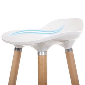 Tabourets de Bar Pieds en Bois de hêtre Hauteur de l'Assise 73 cm Assise en Plastique ABS Blanc