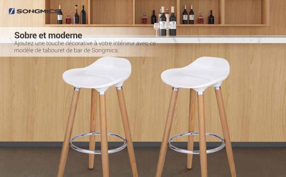 Tabourets de Bar, Lot de 2, Pieds en Bois de hêtre, Hauteur Assise en Plastique ABS, Blanc