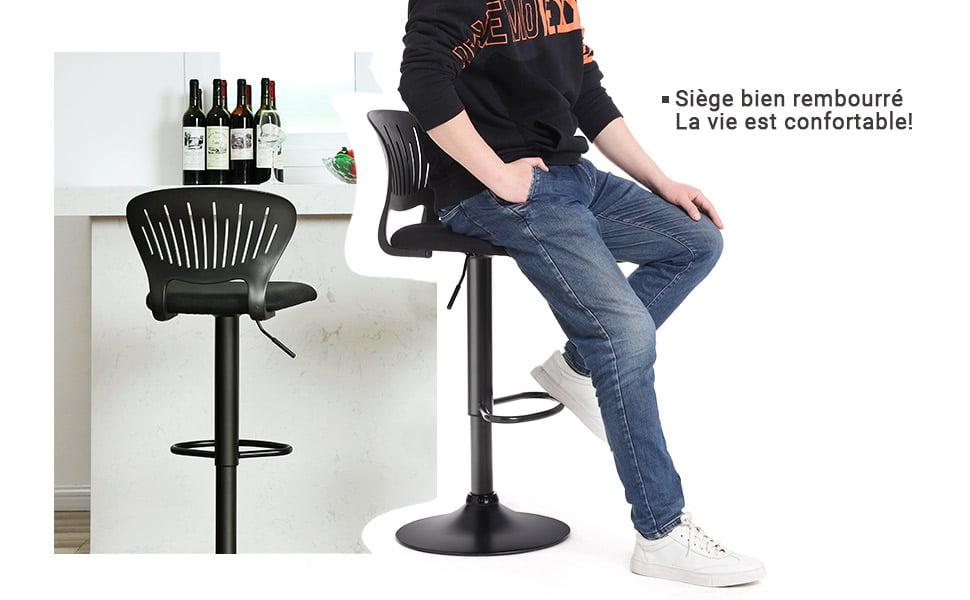 Tabourets de bar,Hauteur réglable, Repose-pieds, Tissu respirant, Pivotant, pour Cuisine, Bar, Noir