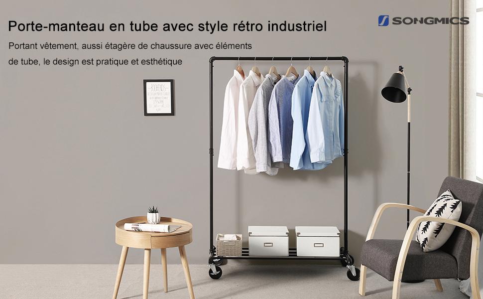 Porte-manteau en tube avec style rétro industriel