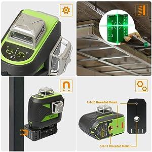 Utilisation facile: ¡ñConception supérieure en métal: La fenêtre laser supérieure en métal surmoulé avec résistance IP54 à l'eau et à la poussière vous permet de bien travailler dans des environnements de travail dangereux. ¡ñ4 indicateurs de batterie sur le clavier permettent aux utilisateurs de connaître le volume actuel de la batterie à tout moment. ¡ñPlaque cible verte: Augmente la visibilité du faisceau laser ou du point laser. ¡ñBase pivotante magnétique puissante à 360°: Permet de fixer un rail métallique et de l'acier, vous permettant de faire pivoter