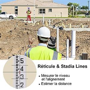 6. Réticule et Stades: ¡ñLa couche optique fournit des lignes de réticule et de réticule horizontales et verticales pour la mesure du plan et de l'orientation et l'estimation de la distance. ¡ñLe réticule et les stades se voient très bien en tournant l'oculaire. Ce niveau prend en charge la correction du réticule et l'utilisateur peut obtenir une indication avancée large en corrigeant les vis.
