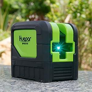 Pour niveler dans des environnements lumineux: ¡ñLa lumière émise en lumière verte est plus élevée en raison de la longueur d'onde modifiée qu'avec la lumière rouge. ¡ñAinsi, les lignes du laser à faisceau laser vert Huepar 9211G sont plus visibles pour l'œil humain - idéal pour travailler dans des environnements particulièrement lumineux, tels que les fenêtres proches.