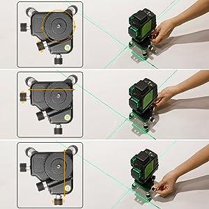 Réglage multidirectionnel ¡ñCet accessoire auxiliaire est conçu pour faciliter les réglages fins du positionnement de la ligne laser. ¡ñLe micro-bouton permet à l'utilisateur de faire des ajustements de rotation de 360° dans le sens horaire ou antihoraire. ¡ñLe bouton d'axe X et le bouton d'axe Y aident l'utilisateur à régler la position horizontale avant et arrière, à gauche et à droite.