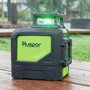 Pour niveler dans des environnements lumineux: ¡ñLa lumière émise en lumière verte est plus élevée en raison de la longueur d'onde modifiée qu'avec la lumière rouge. ¡ñAinsi, les lignes du laser à faisceau laser vert Huepar 901CG sont plus visibles pour l'œil humain - idéal pour travailler dans des environnements particulièrement lumineux, tels que les fenêtres proches.