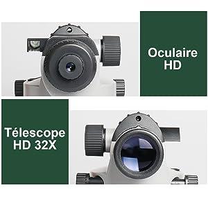 4. Objectif 32X à Grande Ouverture: ¡ñLe niveau optique automatique du Huepar AL-32X comprend un objectif 32x à grande ouverture, qui fournit plus de lumière pour une image plus nette et un excellent grossissement. ¡ñGrâce à sa grande ouverture de 36mm pouvant grossir l'image jusqu'à 32 fois, le plan optique offre un champ de vision de 1°30'avec une distance de mesure minimale de 0,3m, une portée étendue de 120 m et une excellente précision de 1, 6mm à 30m.