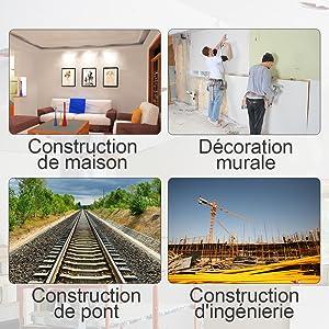 Largement utilisé: ¡ñIdéal pour l'alignement rapide et droit des images, des carreaux, des papiers peints, des armoires murales, des étagères, etc. ¡ñLes lasers à lignes croisées auto-nivelants, qui garantissent différents travaux d'alignement dans ou autour de la maison, peuvent être effectués rapidement et avec précision. ¡ñMême l'alignement des lignes diagonales n'est pas un défi grâce à la fonction d'inclinaison.