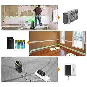 Triple alimentation: ¡ñCet outil laser utilise la batterie au lithium haute capacité incluse, compatible avec la batterie Samsung SB-L110. ¡ñCet outil laser est livré avec un support pour installer une pile AA afin de pouvoir utiliser l'outil. ¡ñCharge à entrée directe: Cet outil laser peut être utilisé sur le chantier avec une charge à entrée directe, même si la batterie est retirée. ¡ñLa protection de charge empêche l'outil de surcharger.