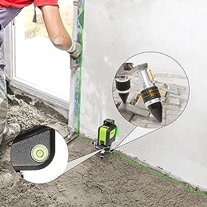 Fonction De réglage de l'angle et De la hauteur ¡ñL'utilisateur peut régler la hauteur en tournant les trois pieds de l'adaptateur. La plage de hauteur réglable est de 1 cm. ¡ñLe niveau de vue à bulle horizontale intégré peut vous aider à régler l'angle et la précision. ¡ñCes conceptions peuvent vous aider à ajuster la position de l'outil laser sur un sol accidenté ou en pente.