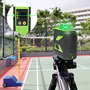 Mode impulsion: ¡ñActiver le mode impulsion: après la mise sous tension, appuyez brièvement sur le bouton situé à côté du bouton d'alimentation pour activer le mode impulsion. L'indicateur s'allume en rouge. ¡ñLe mode Pulse étend la plage de travail jusqu'à 60 m dans des conditions de travail brillantes, en utilisant le récepteur laser Huepar LR-6RG (ASIN: B07GVC2XD9). ¡ñLorsqu'il est utilisé avec un récepteur, il est nécessaire d'activer le mode impulsion. ¡ñIl est compatible avec le récepteur laser Huepar Line LR-6RG uniquement.