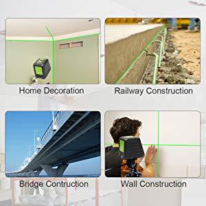 Applications larges: ¡ñCet outil laser est conçu pour une variété d'applications d'alignement et de mise à niveau. À l'exception de la fonction de mise à niveau automatique, il inclut également un mode manuel pour toutes les conditions de site. ¡ñIl peut vous aider à travailler efficacement dans les textiles de maison, la construction de murs, la construction de ponts, le génie civil, la construction de voies ferrées, etc.