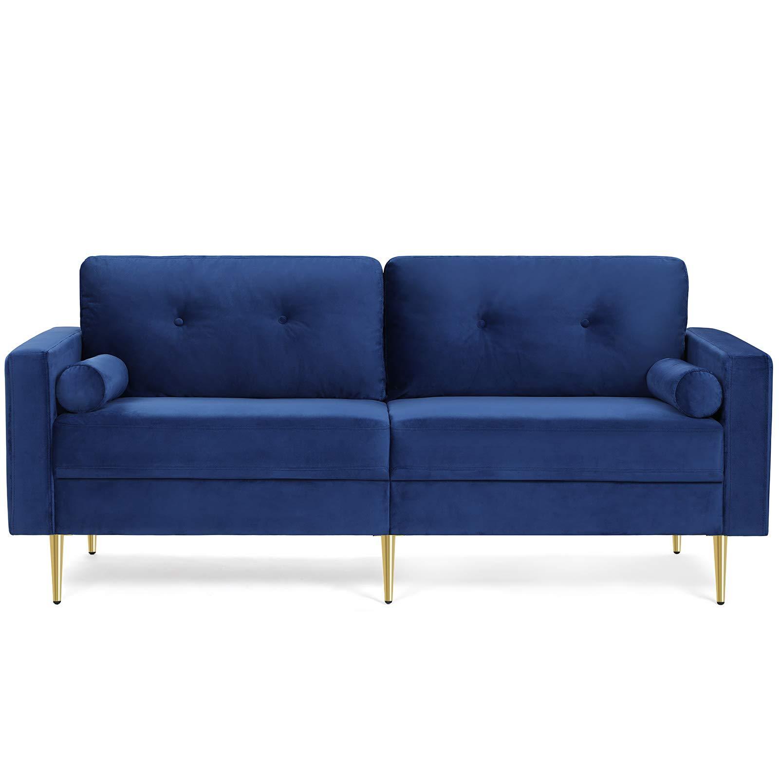 VASAGLE 3-Sitzer Sofa, Couch für Wohnzimmer, Bezug aus Samt, für Wohnungen, kleinen Raum, Holzgestell, Metallbeine, einfacher Aufbau, modernes Design, 190 x 82 x 84 cm, blau LCS001Q01