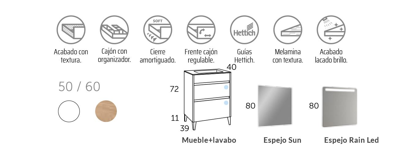 Mueble de baño fondo reducido al suelo Berna