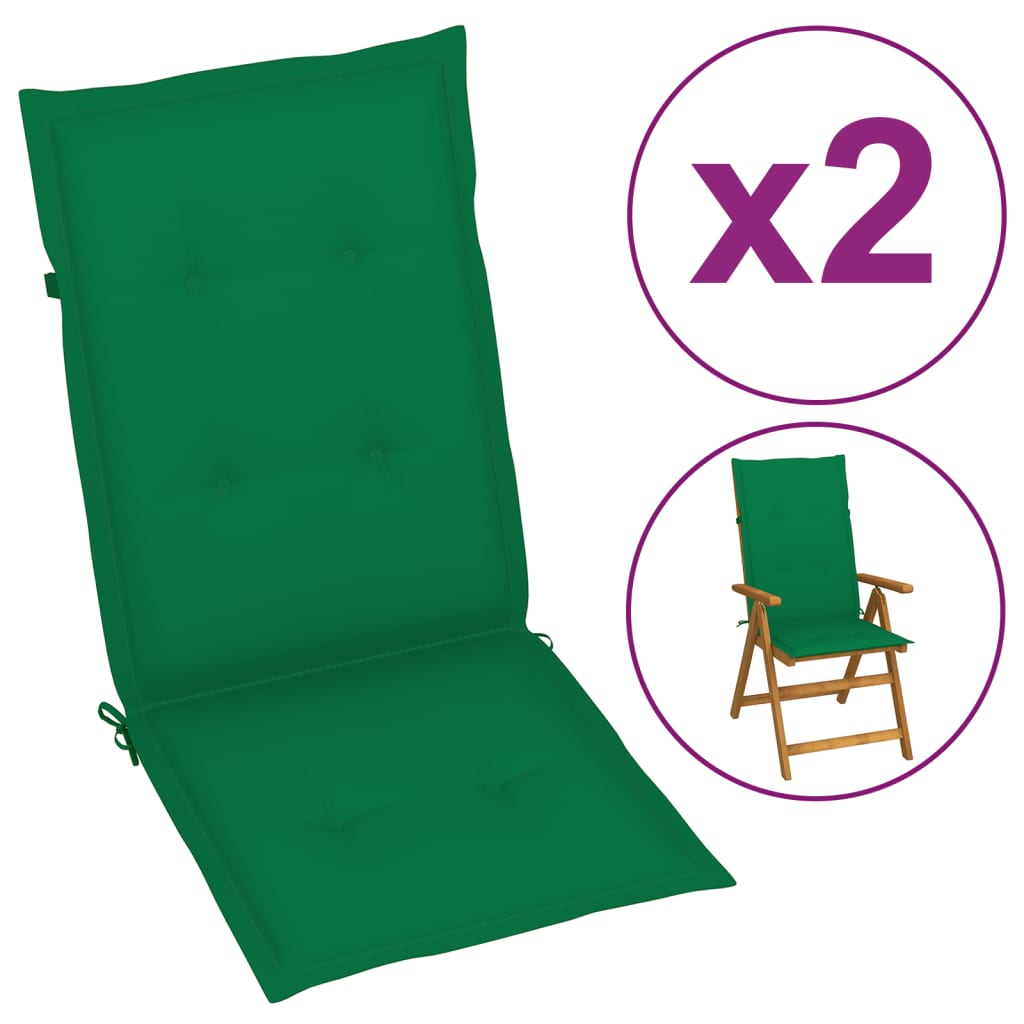 vidaXL 2x Gartenstuhl Auflage Grün Niedriglehner Stuhlauflage Sitzauflagen