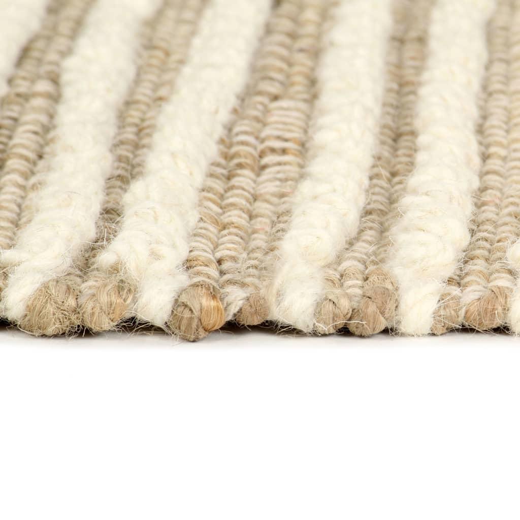 Alfombra de lana y cáñamo natural/blanco 80x150 cm