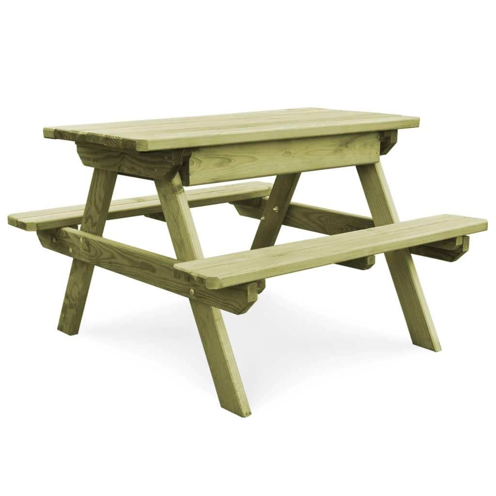 Table de pique-nique et bancs 9x9x9 cm Pinède imprégnée -
